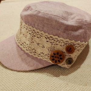 Linen & Lace Shabby Chic Cadet Hat w/Buttons